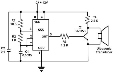 ultrasonic transmitter circuit - schematic