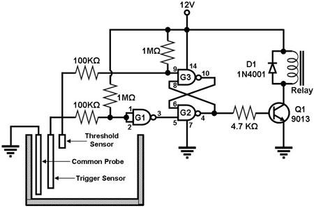 water level sensor circuit - schematic