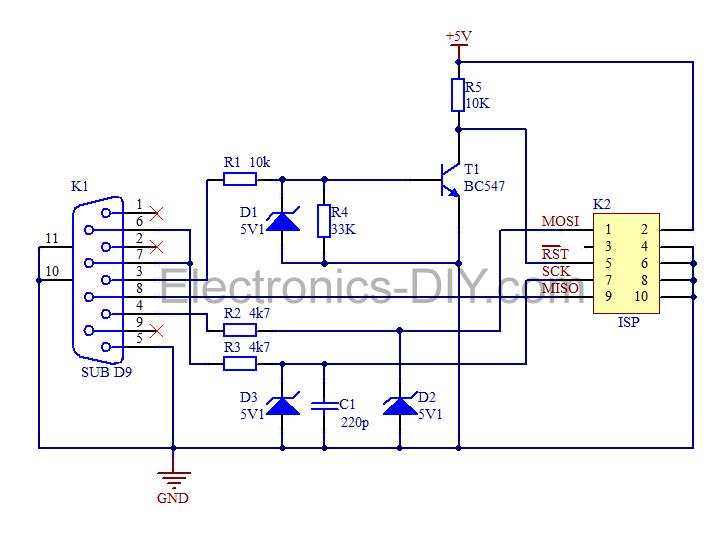 Simple AVR Programmer - schematic