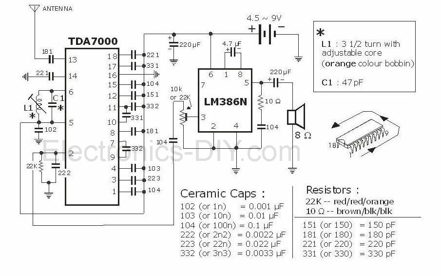 FM Radio with TDA7000 - schematic