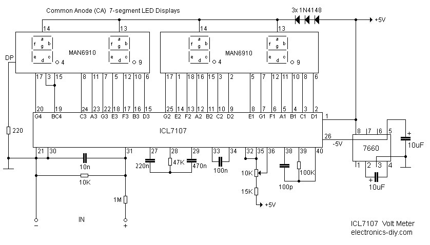 ICL7107 / ICL7106 - Digital Voltmeter - schematic