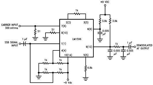 lm1596 single sideband ssb suppressed carrier demodulator - schematic