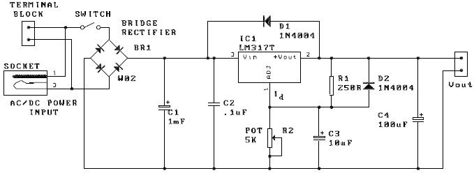 lm317 adjustable power supply electronic project
