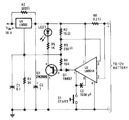 lm350 car battery charger circuit design