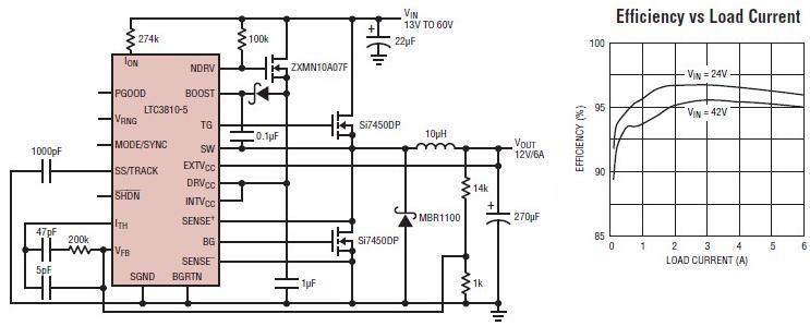12 volt switching power supply using ltc3810 5 - schematic