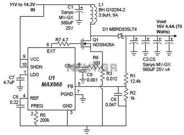 16v power supply with MAX668 circuit - schematic