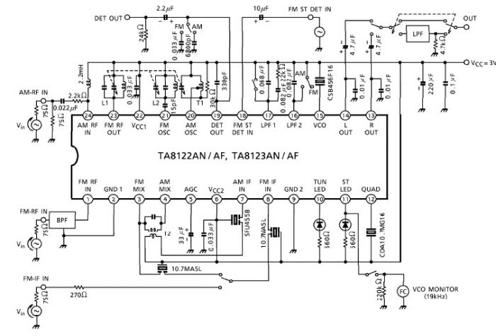 ta8122 am fm radio receiver electronic project circuit design - schematic