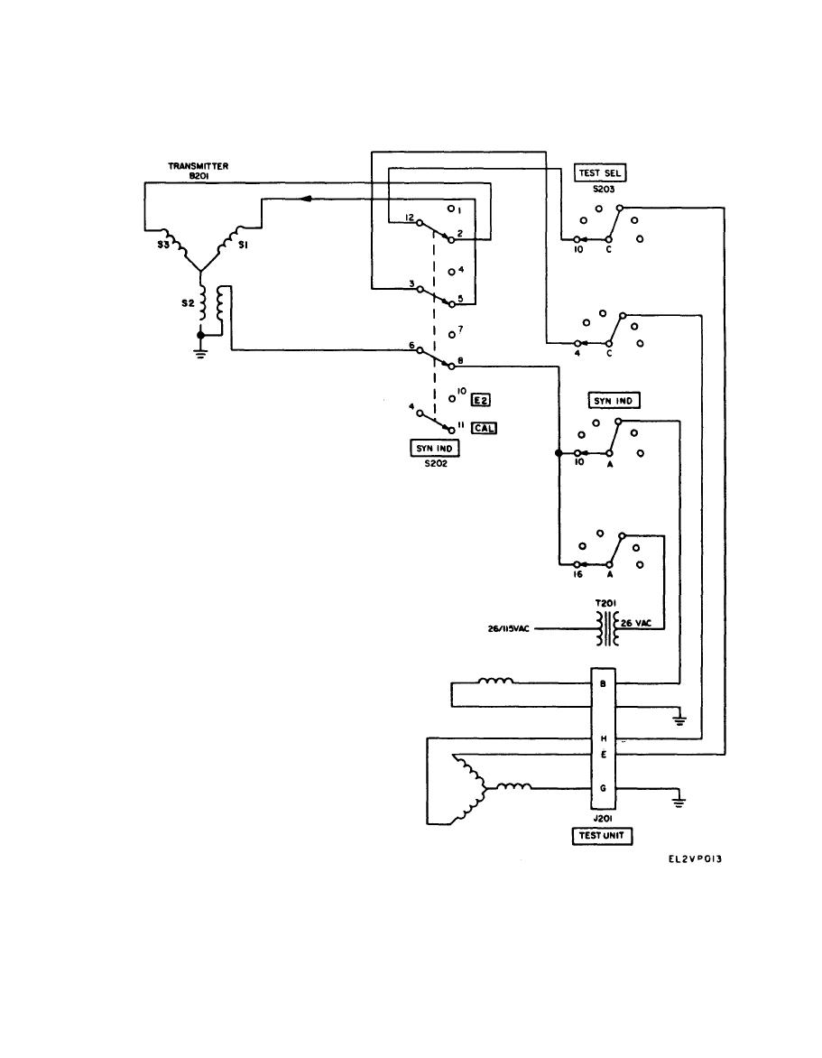 Transmitter test circuit schematic diagram of synchronous indicator under test - schematic