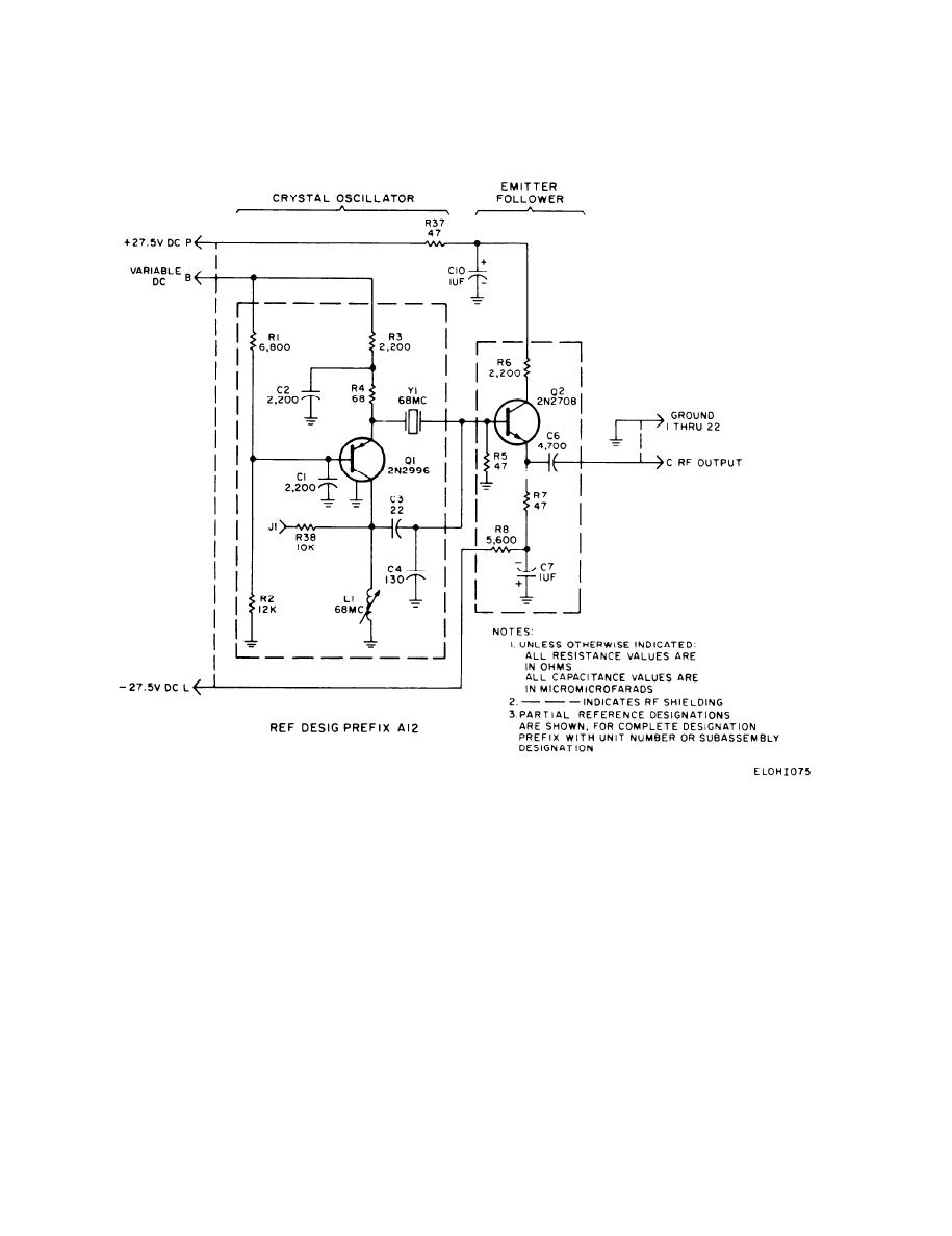 68-MHz oscillator circuit card schrematic diagram (assembly A12) - schematic