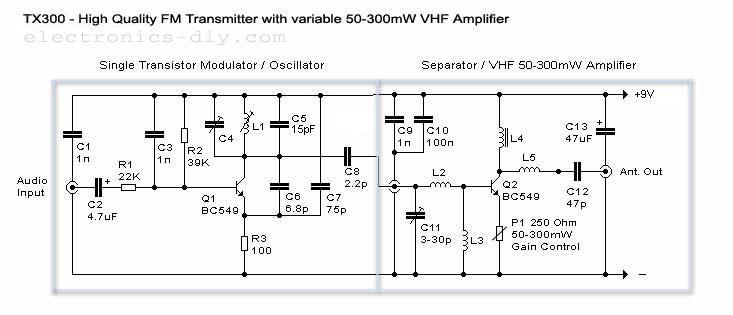 TX-300 300mW FM Transmitter - schematic