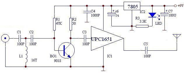 upc1651 fm transmitter circuit - schematic