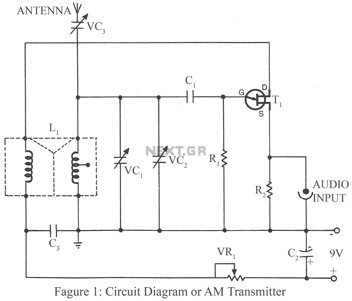 AM transmitter project circuit - schematic