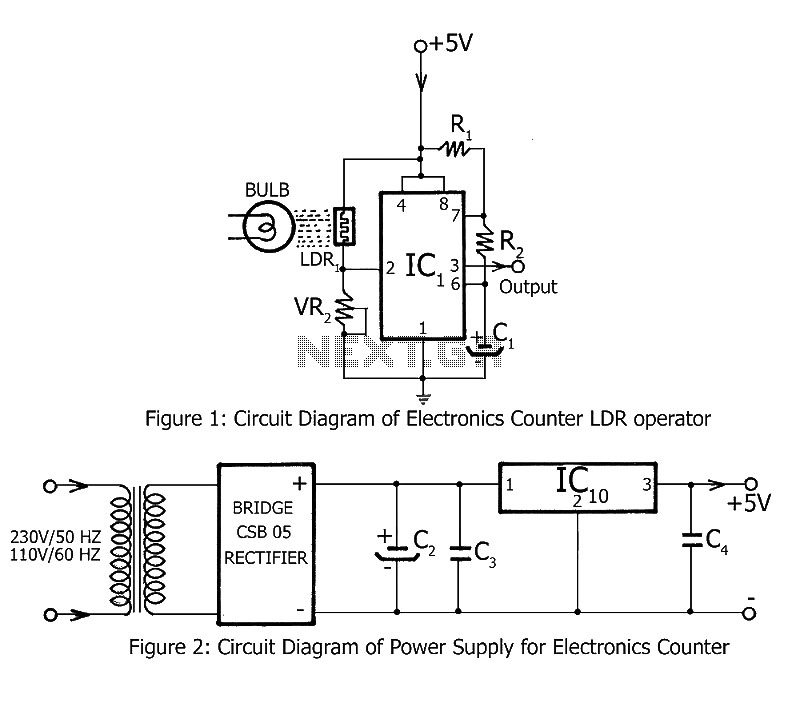 Electronic counter circuit - schematic