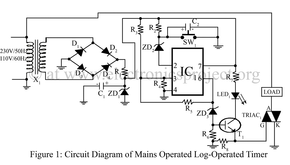 Mains operated Log-Interval Timer circuit - schematic