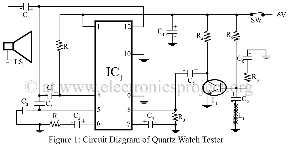 Quartz Watch Tester circuit diagram of quartz watch tester - schematic