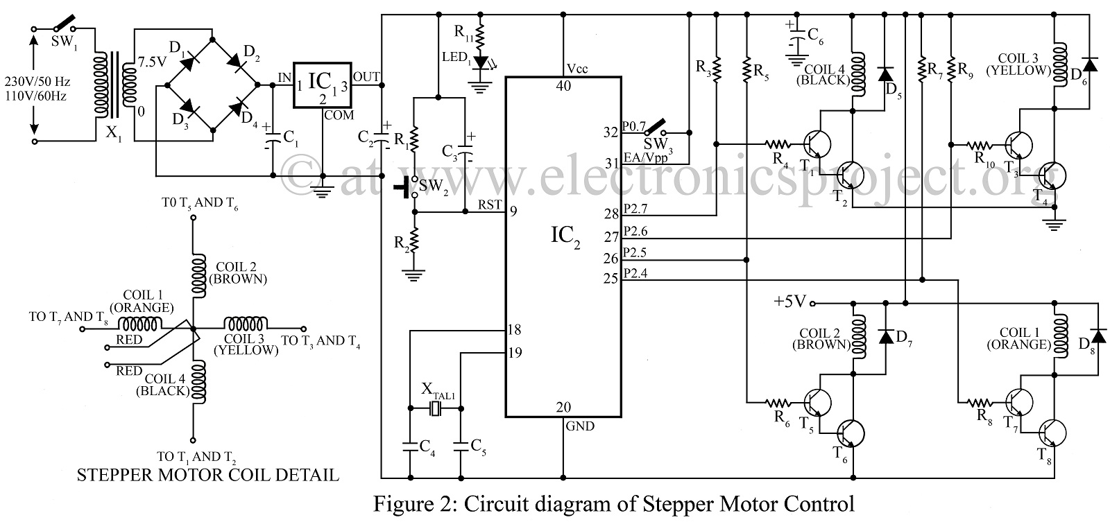 stepper motor control using microcontroller at89c51 circuit under repository-circuits