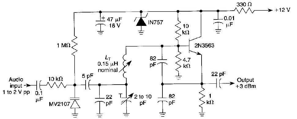 Frequency Modulated FM Oscillator Circuit - schematic