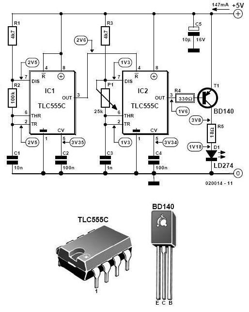 Infrared Alarm Barrier Circuit - schematic
