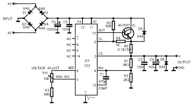 lm723 variable power supply circuit design - schematic