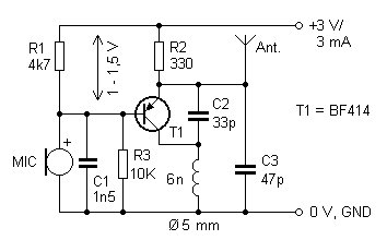 Micro Transmitter Bug - schematic