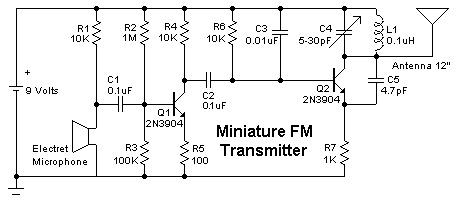 Mini FM Broadcast Transmitter - schematic