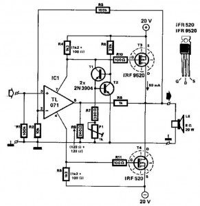 20w mosfet power amplifier - schematic