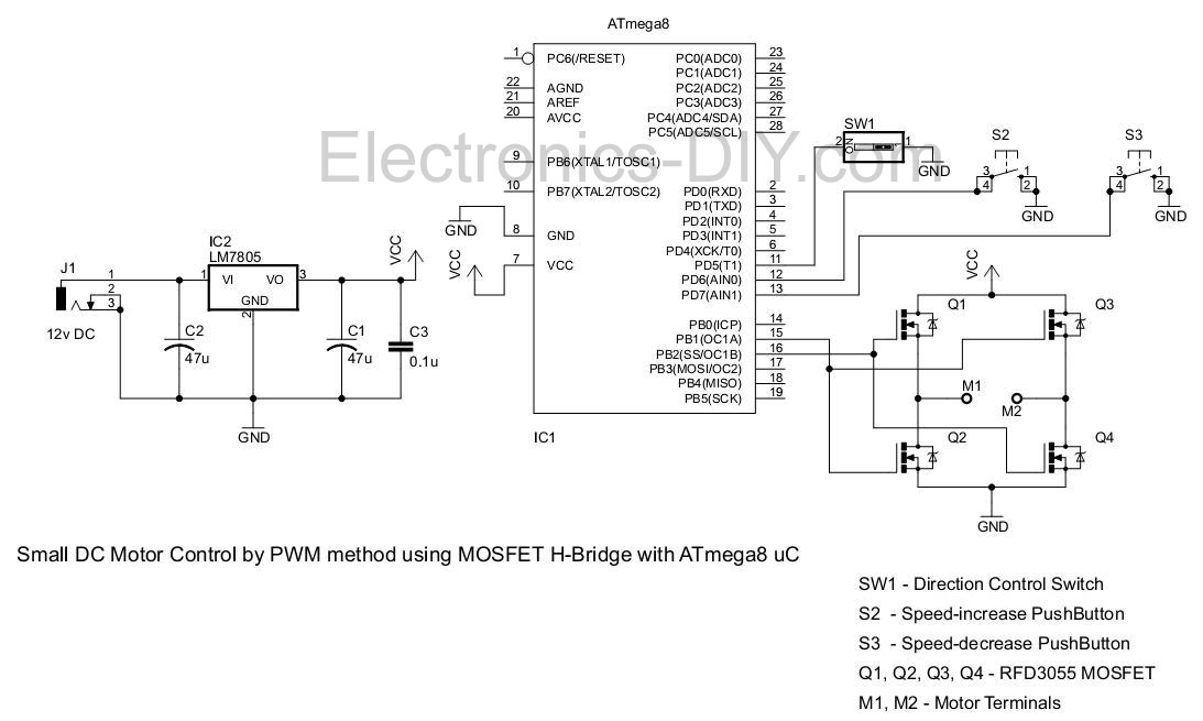 PWM Motor Driver with MOSFET H-Bridge and AVR ATmega8 - schematic