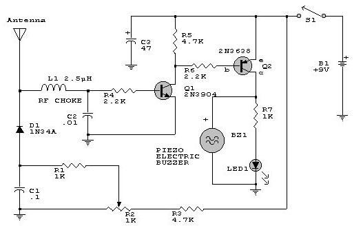 gt  circuits  gt  rf detector electronic project circuit design