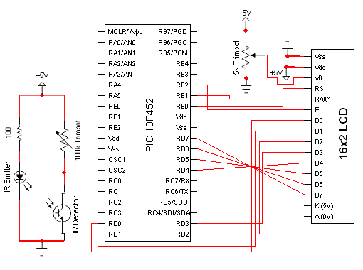 A contact-less digital tachometer based on optical sensors - schematic