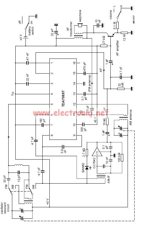 tda7088t fm radio receiver circuit - schematic