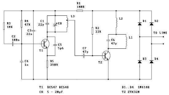 Spy Telephone Circuit - schematic