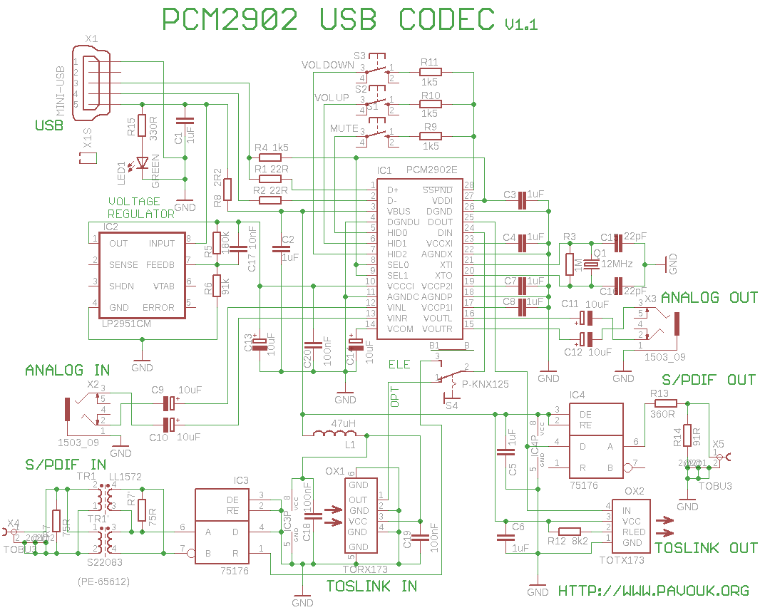 USB Sound Card with PCM2902 - schematic