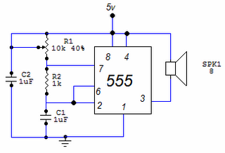 Tone generator with 555 - schematic