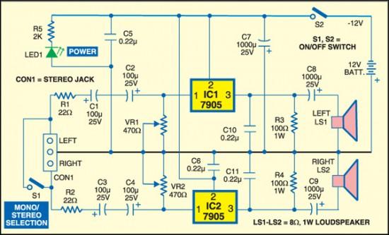 1W Stereo Amplifier With Voltage Regulators - schematic
