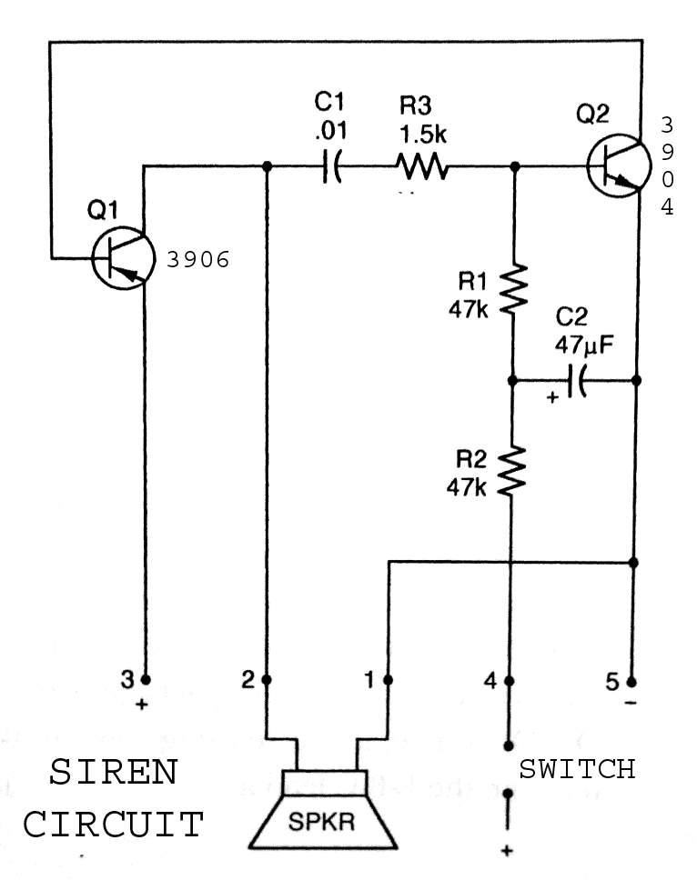 3904 3906 Siren Circuit - schematic