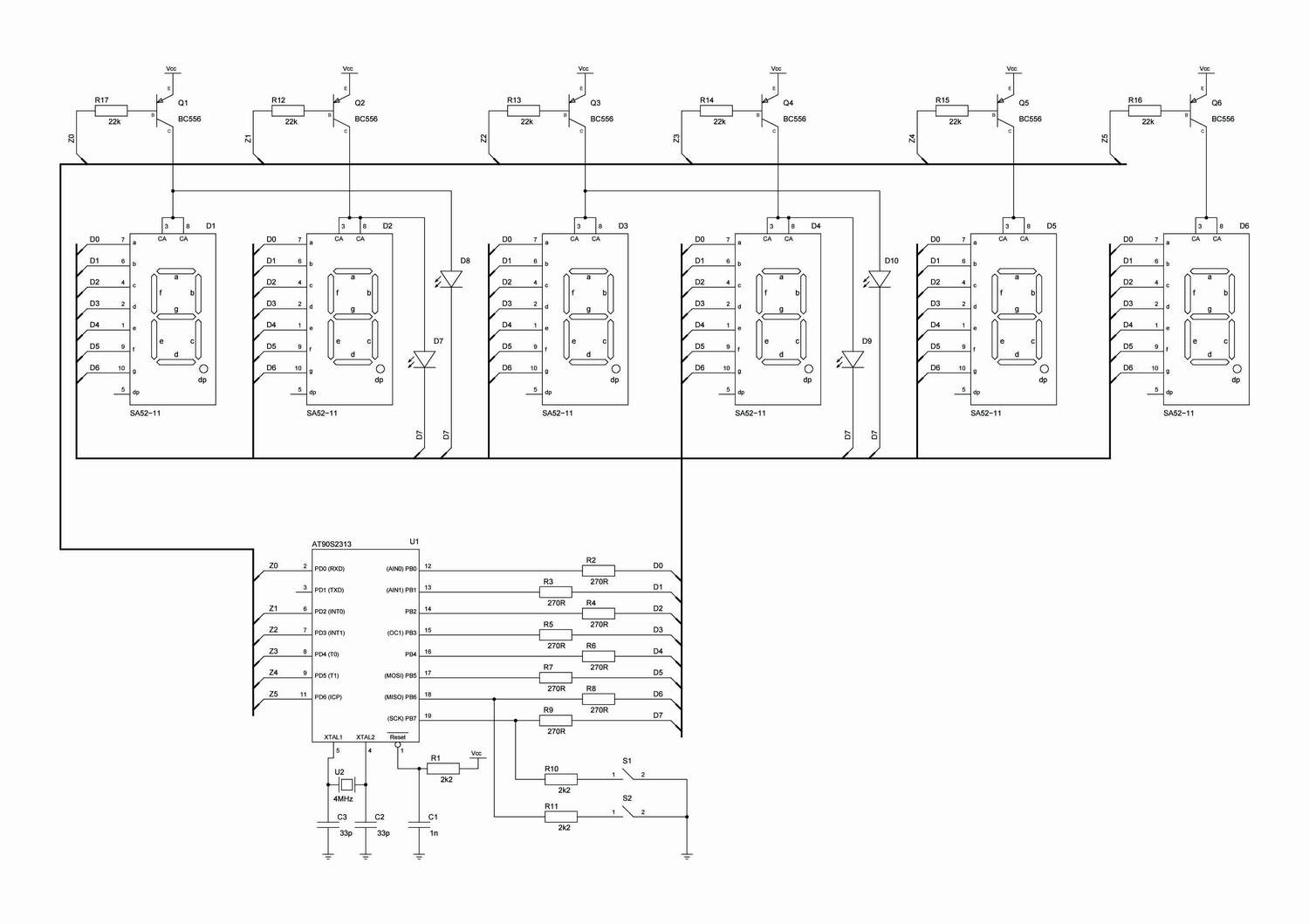 Clock Circuit Page 3 Meter Counter Circuits 7 Segment Diagram Avr Schematic