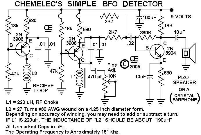 Beat Frequency Oscillator Detector - schematic