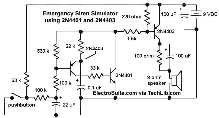 Emergency Siren Simulator using 2N4401 and 2N4403 - schematic