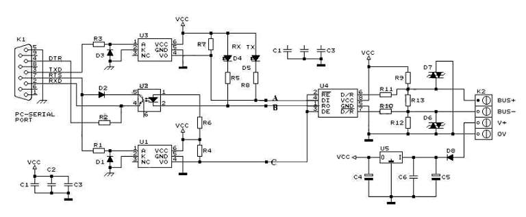 RS232 to RS485 Converter Circuit Schematic