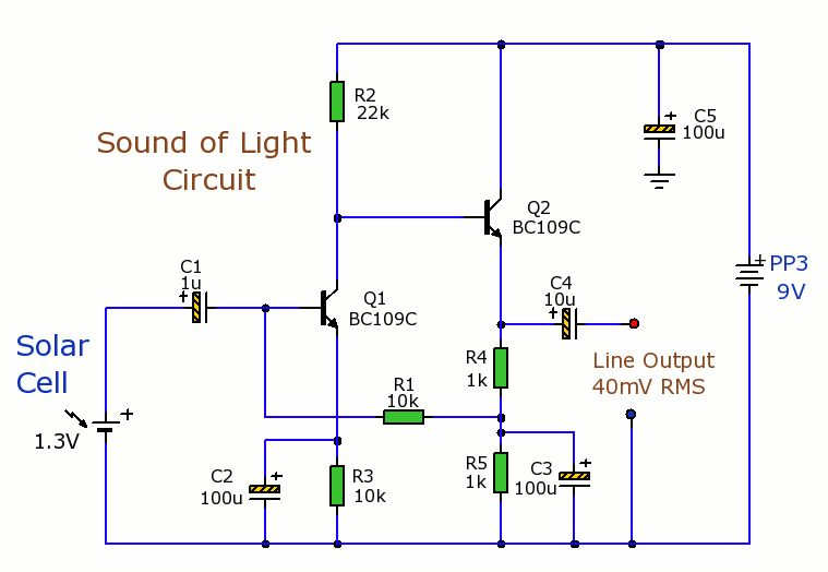 Solar Cells Light-Sound Converter - schematic