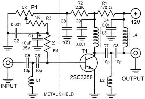 Wideband DTV UHF Antenna TV Amplifier - schematic