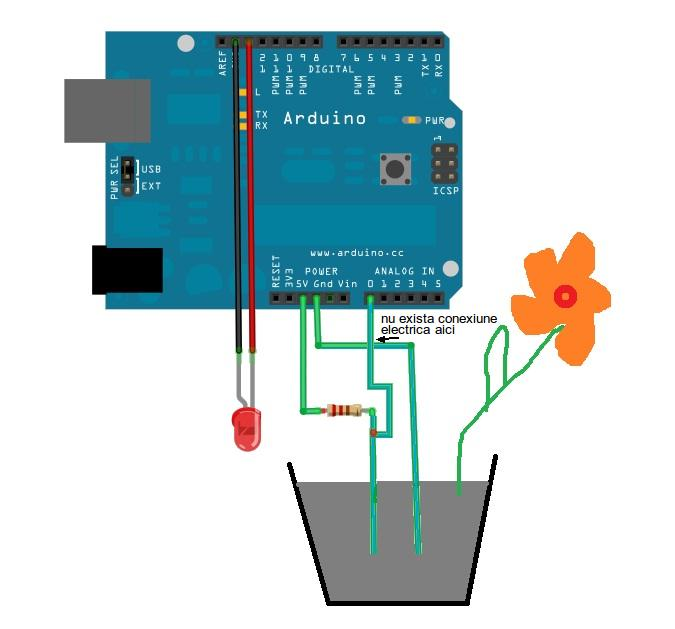 Simple Soil Moisture Sensor - Arduino Project - schematic
