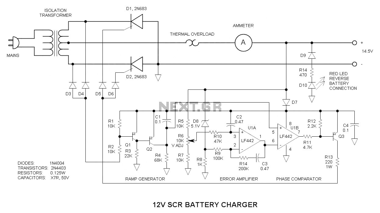 Battery Charger Circuit Page 12 Power Supply Circuits Volt 4 To 10 Ah Using A Relay 12v With Scr