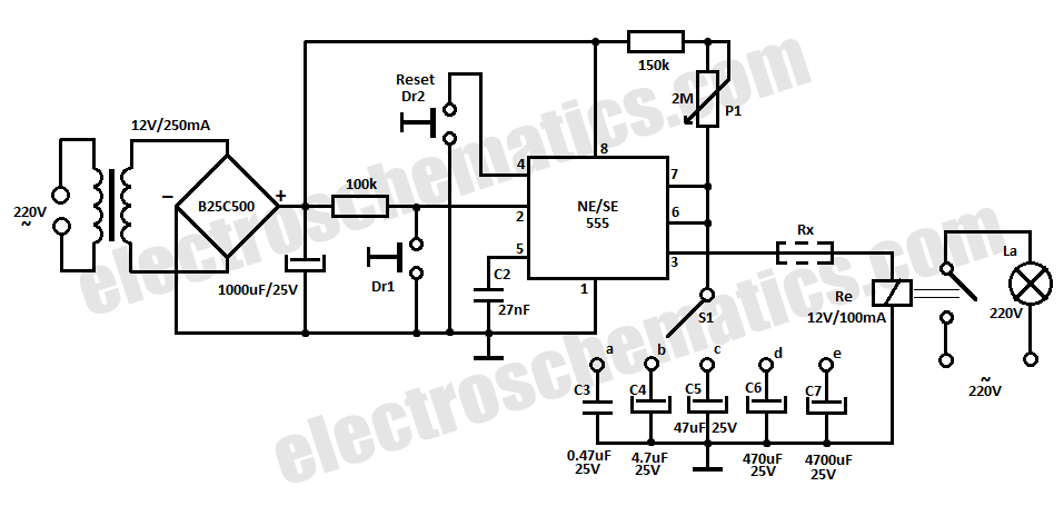 time delay relay circuit with 555 under repository-circuits