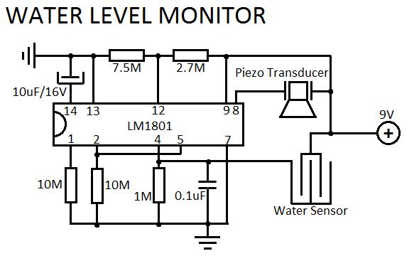 Water Level Sensor Circuit - schematic