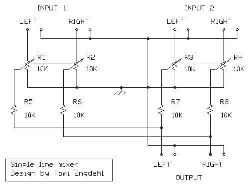 Audio Mixers Circuits - schematic