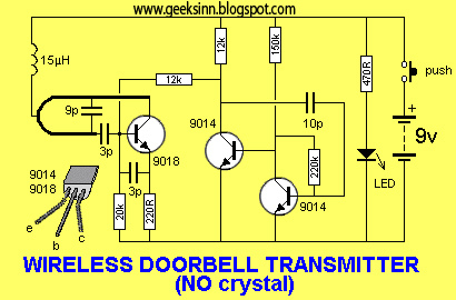 circuit for wireless doorbell transmitter circuit(without crystal) - schematic