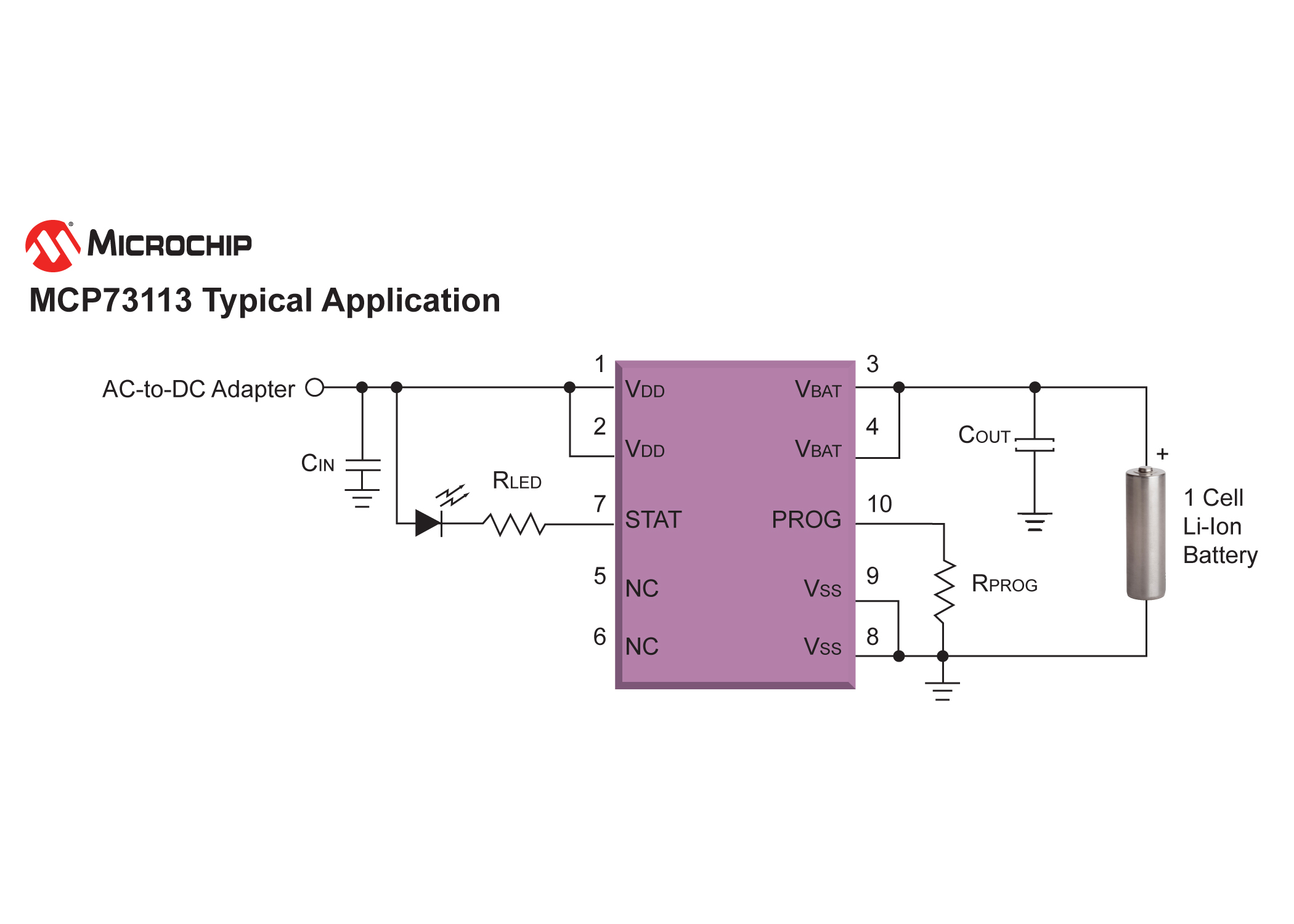 Microchips MCP73113 Li-Ion Battery Charger - schematic