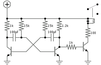 how to get more power out of a astable multivibrator - schematic