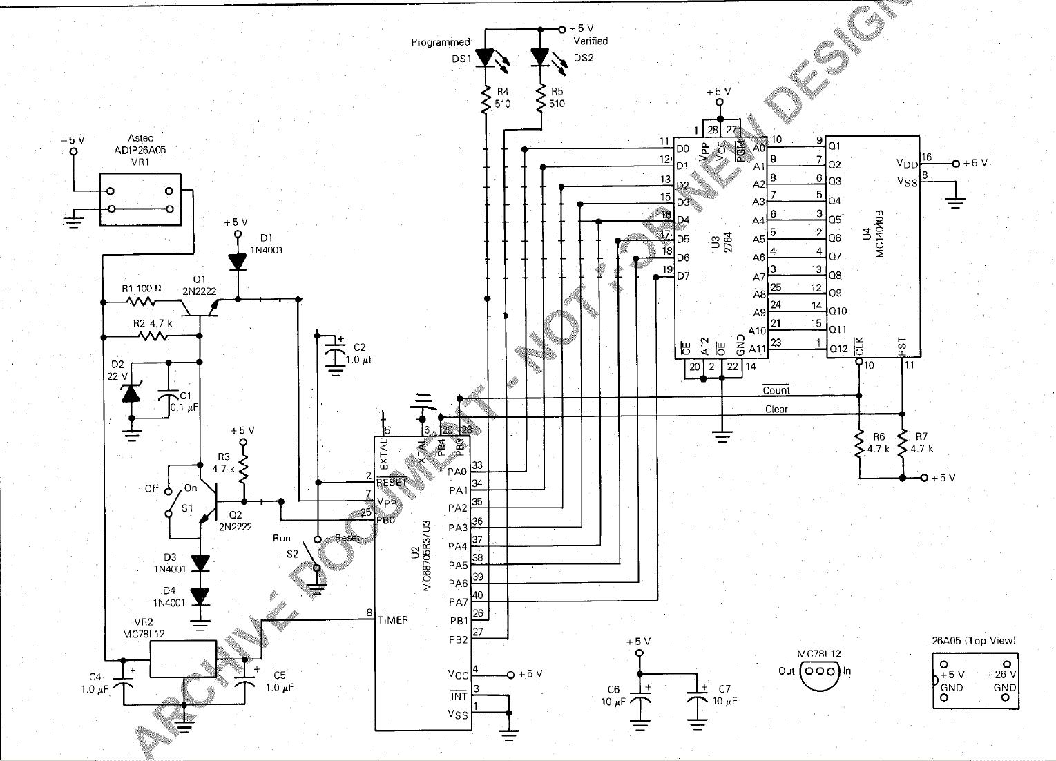 MC68705 Programmer Circuit - schematic